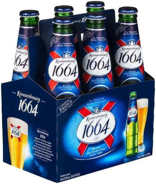 Kronenbourg -1664 Lager 330ml (11.2oz) Bottle 24pk Case